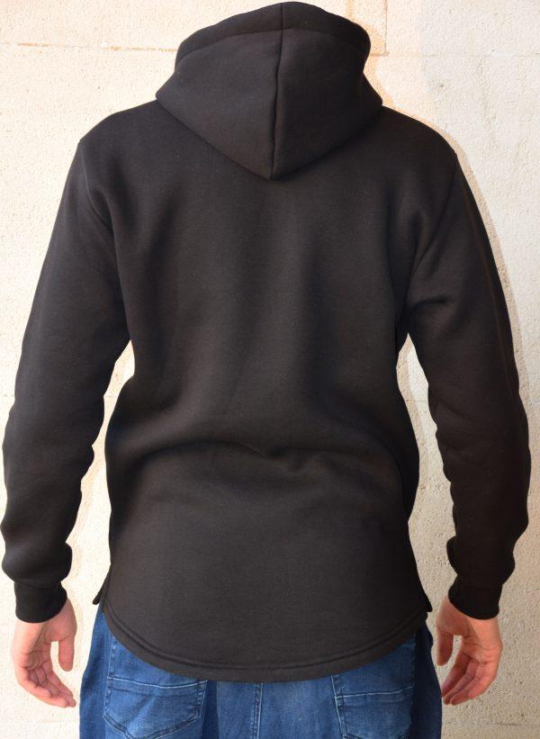 sweat hoodie à capuche noir avec logo blanc sahabi